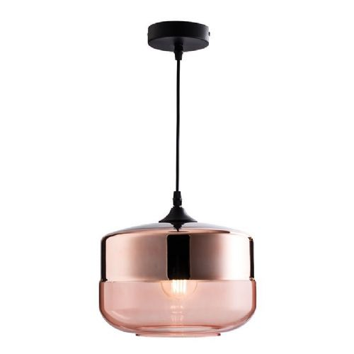 Cognac tinted & copper plated glass Pendant Light 60182 by Endon